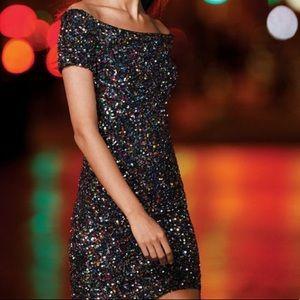 NWOT Gianni Bini Zoe Off Shoulder Confetti dress